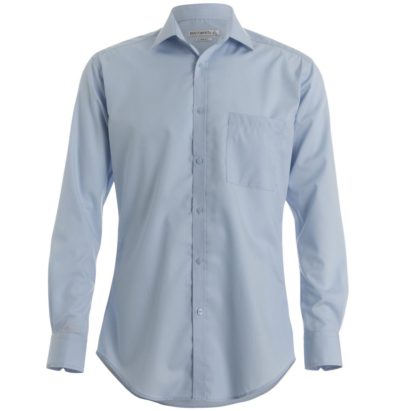 Kustom kit men 39 s premium non iron slim fit long sleeved for Slim fit non iron shirts