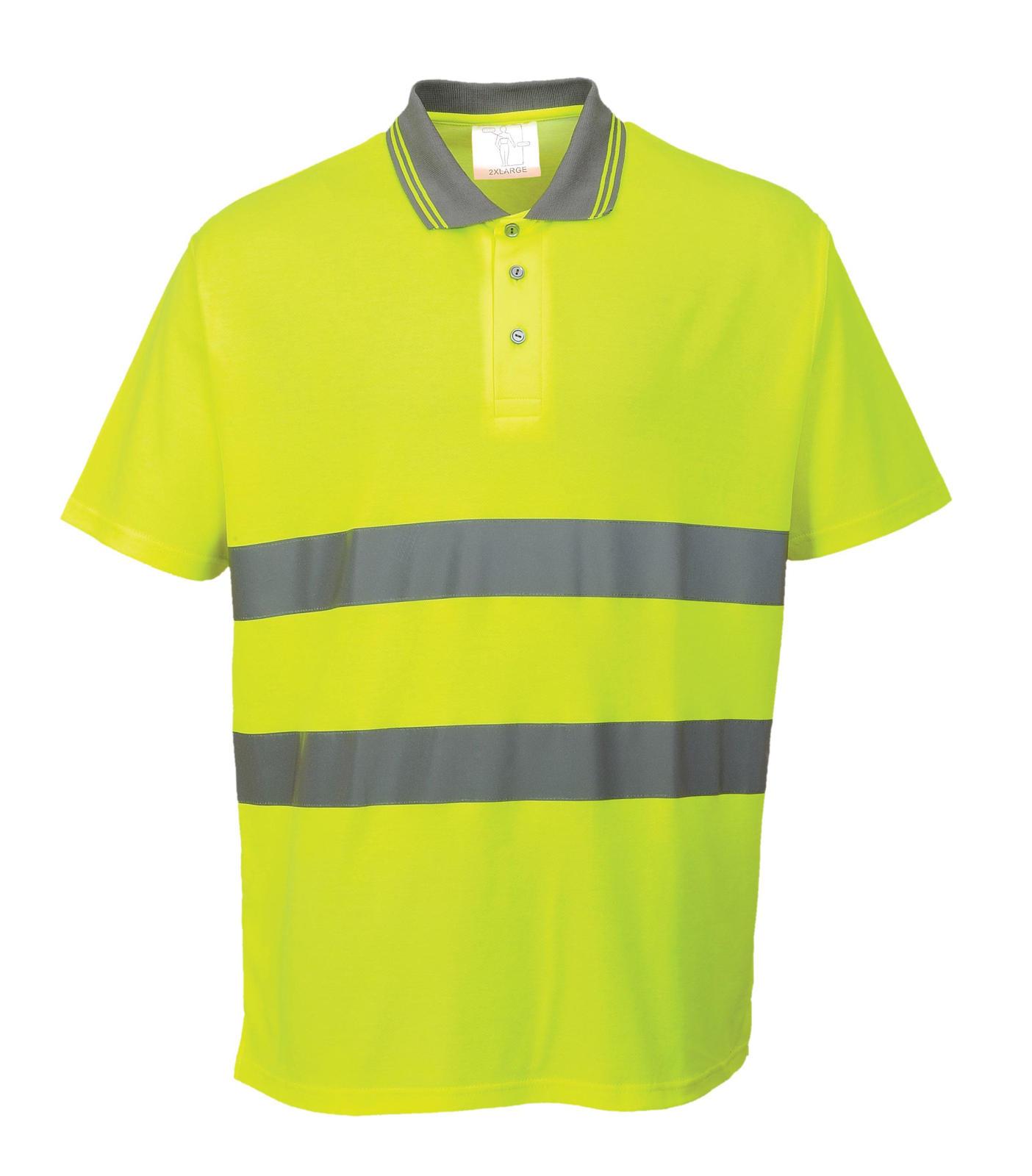 Portwest cotton comfort breathable high visibility polo for Hi vis t shirts cotton