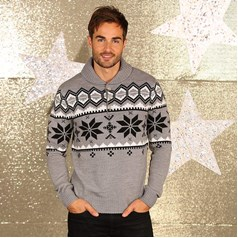 Christmas Shop Men's Shawl Collar Knitted Jumper