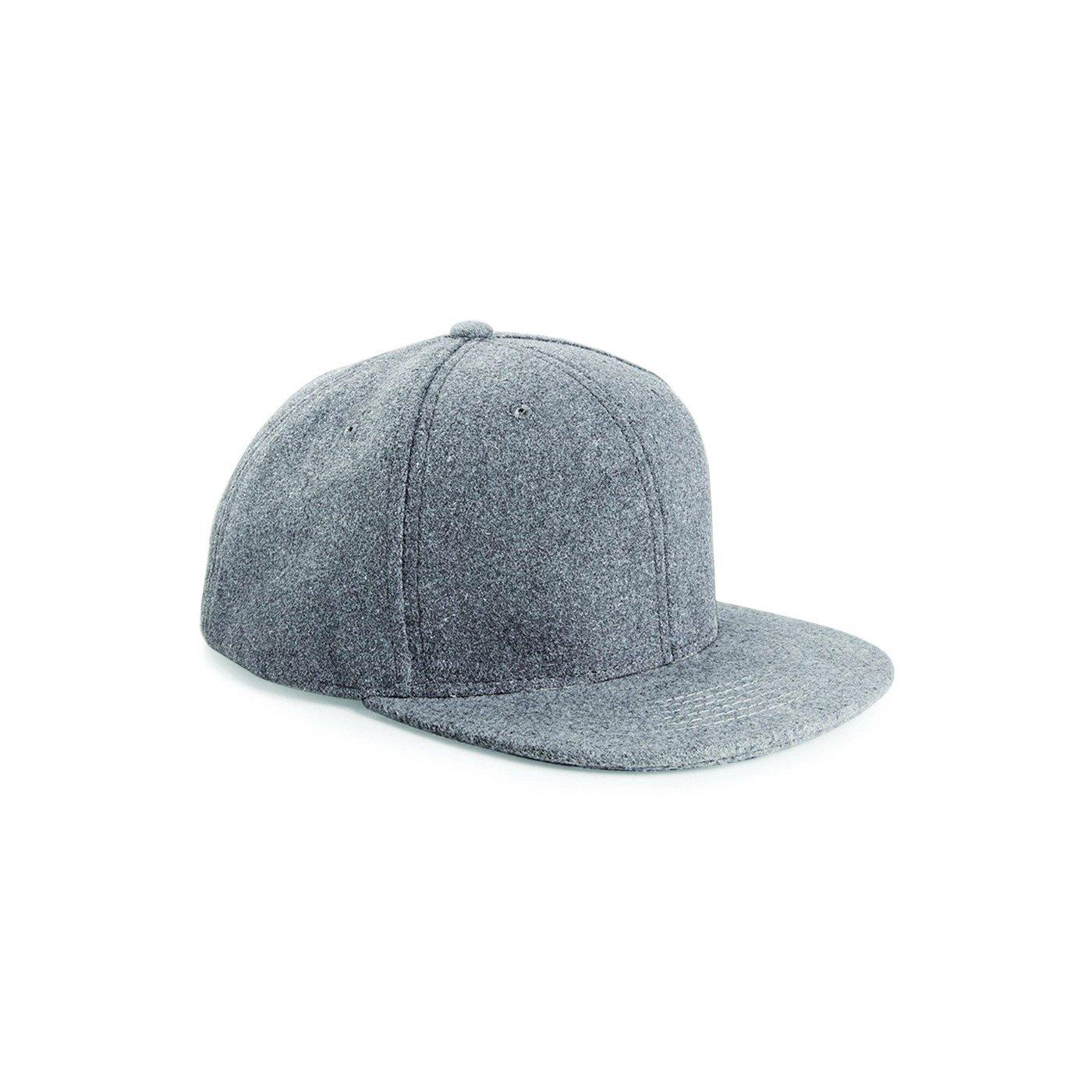 98f6e822f2c Beechfield Adult s Flat Peak Melton Wool Snapback Cap BC675