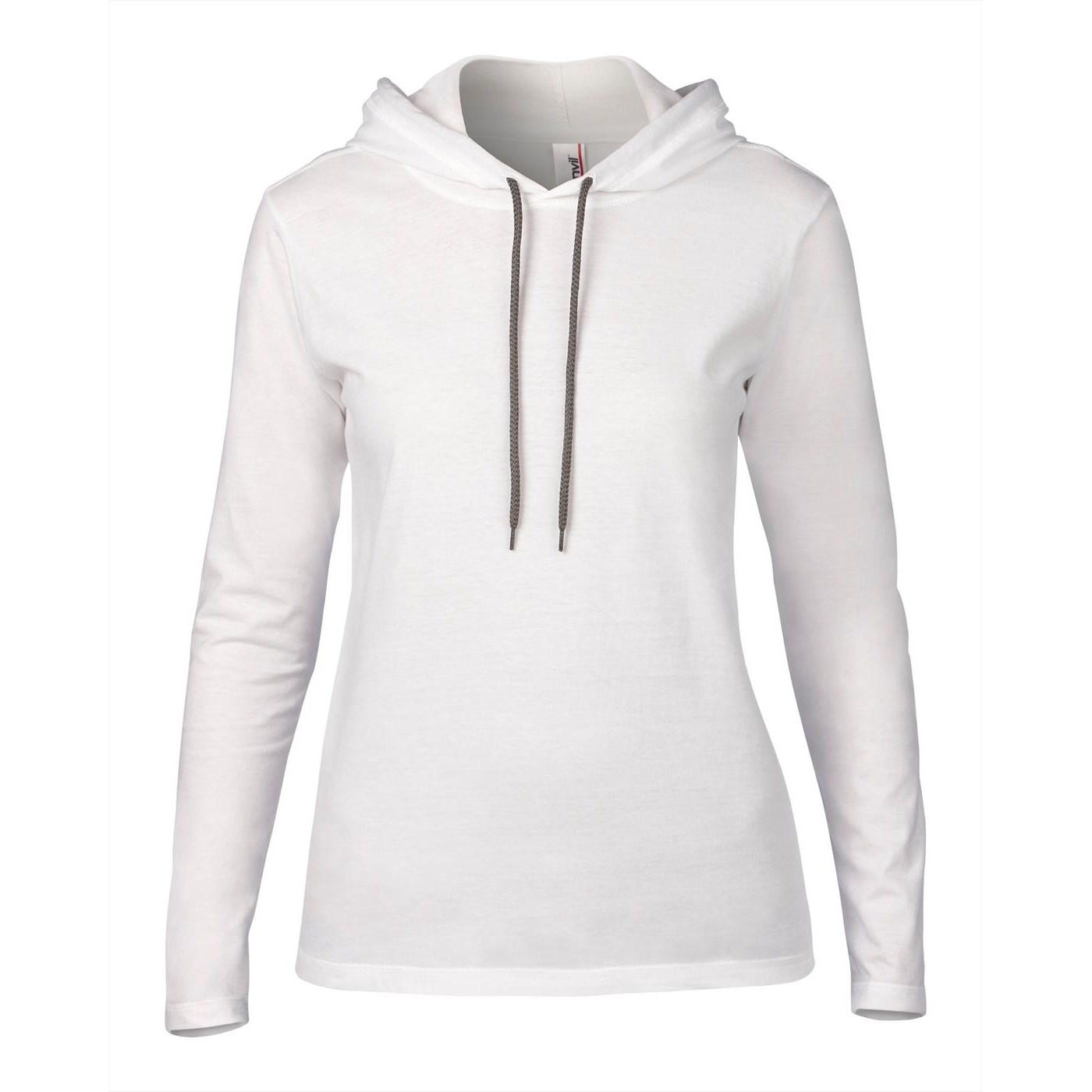 7fbb83db2182 Anvil women s fashion basic long sleeve hooded tee AV182
