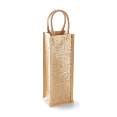 Westford Mill Reinforced Shimmer Jute Bottle Bag