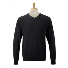 Russell Collection Mens Contemporary V-Neck Knitted Sweater