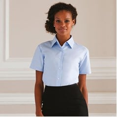 Russell Collection Ladies Esatcare Short Sleeved Oxford Shirt
