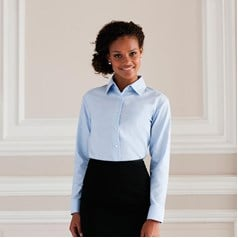 Russell Collection Ladies Easycare Long Sleeve Oxford Shirt