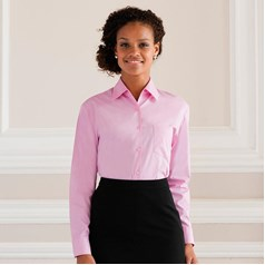 Russell Collection Ladies Easycare Long Sleeved Poplin Fabric Shirt