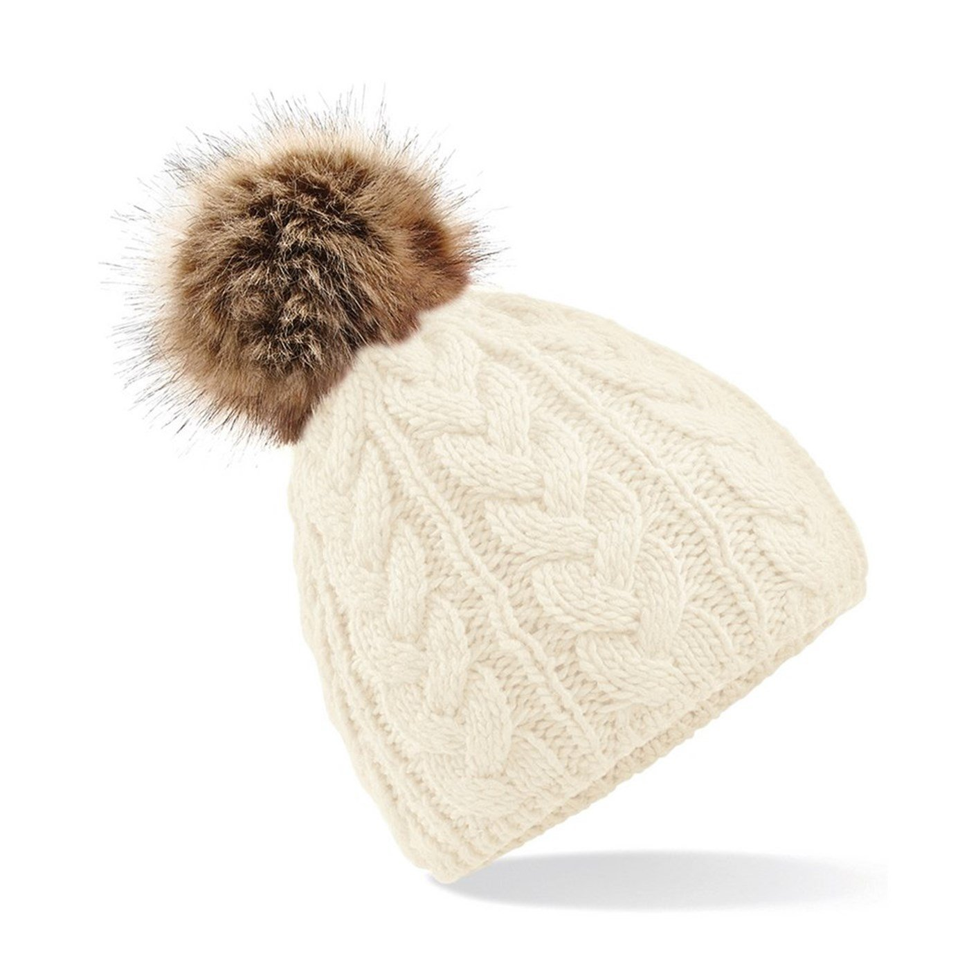 c6fb3b4c38f Beechfield Adult s Fur Pom Pom Cable Knit Beanie Hat