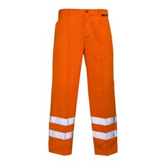 Super Touch Hi Vis Polycotton Trousers with Ankle Band in Orange