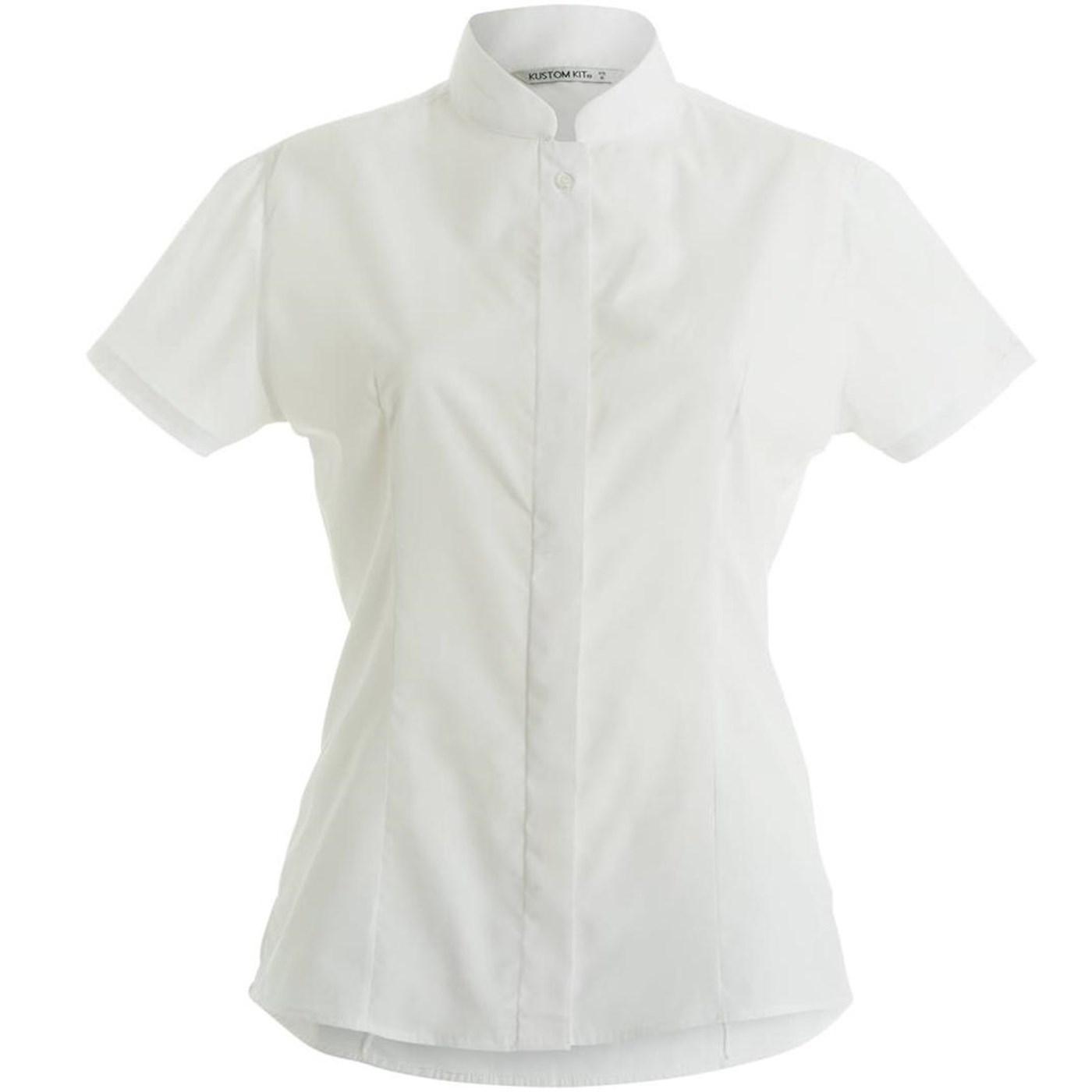 8213bd238ac5 Kustom Kit Women s Mandarin Collar Fitted Short Sleeve Shirt KK260